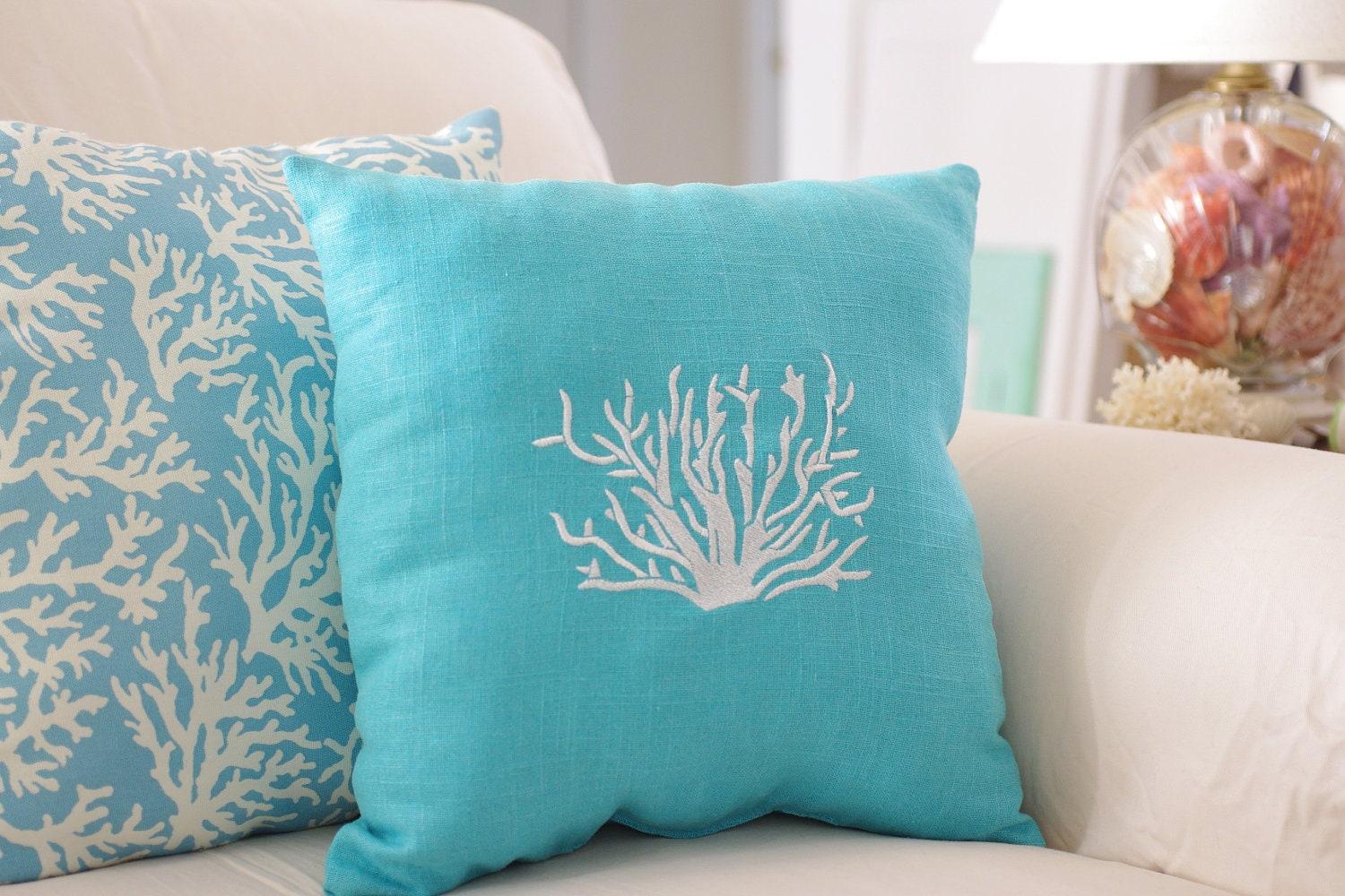 beach themed sofa pillows tufted chaise lounge decor turquoise blue throw pillow by bytheseashoredecor