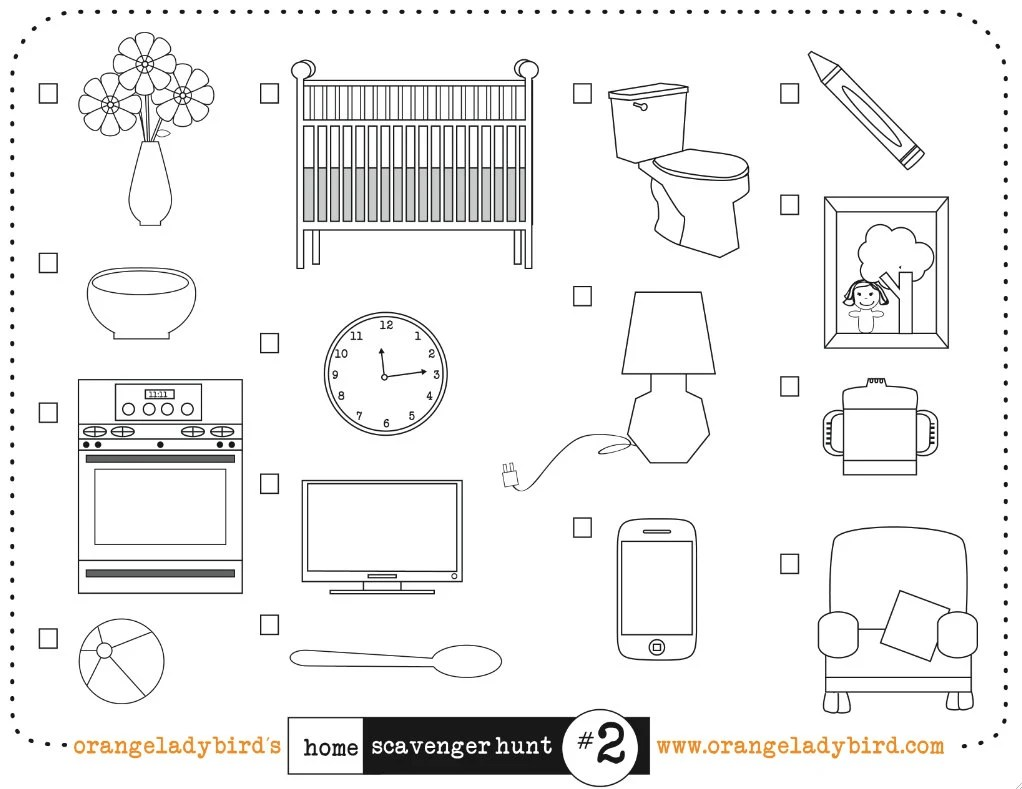 Printable HOME SCAVENGER HUNT 2 Illustrated by orangeladybird
