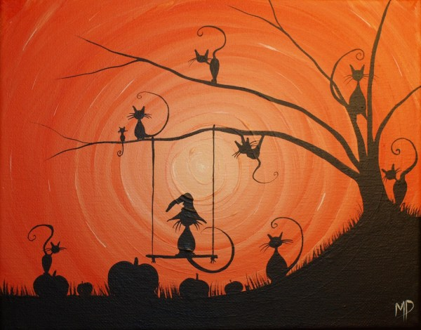 Cats love Halloween 8 x 10 acrylic on canvas ready to