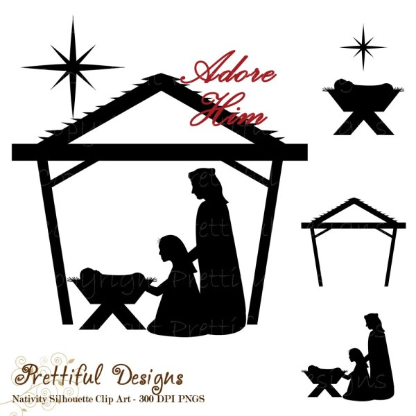 nativity silhouette clip art christmas