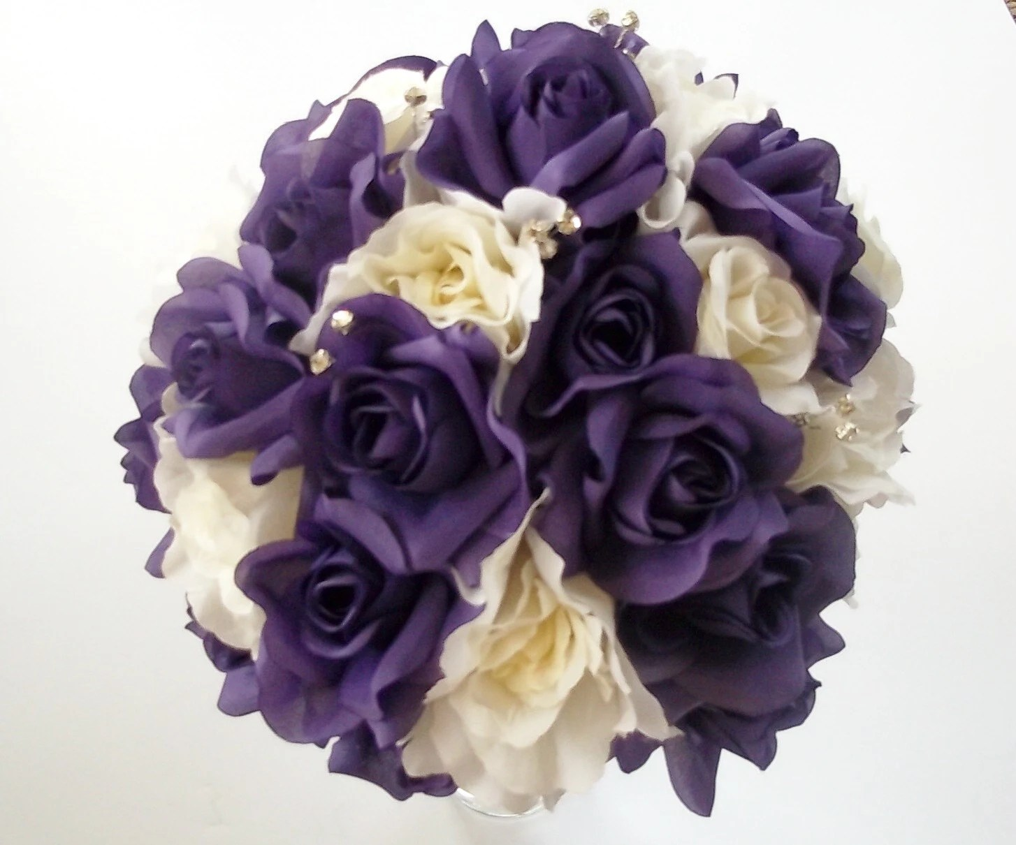 Purple And White Rose Wedding Bouquet Purple And White