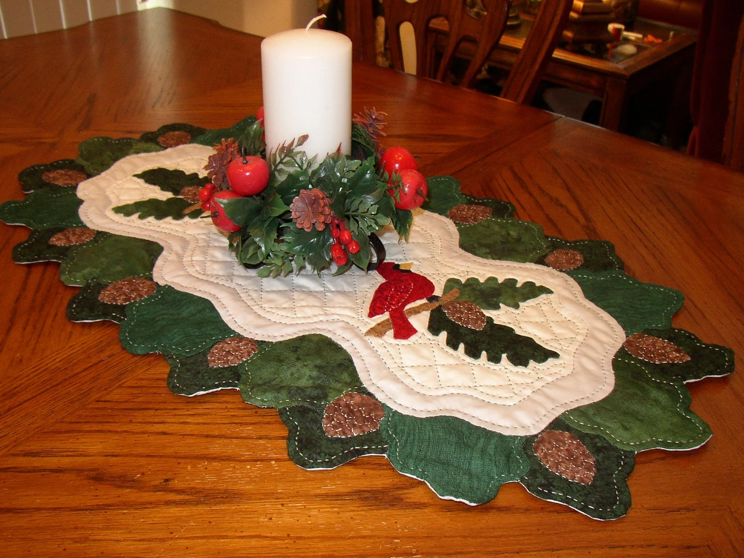 Pine Bough Amp Cardinal Christmas Table Runner