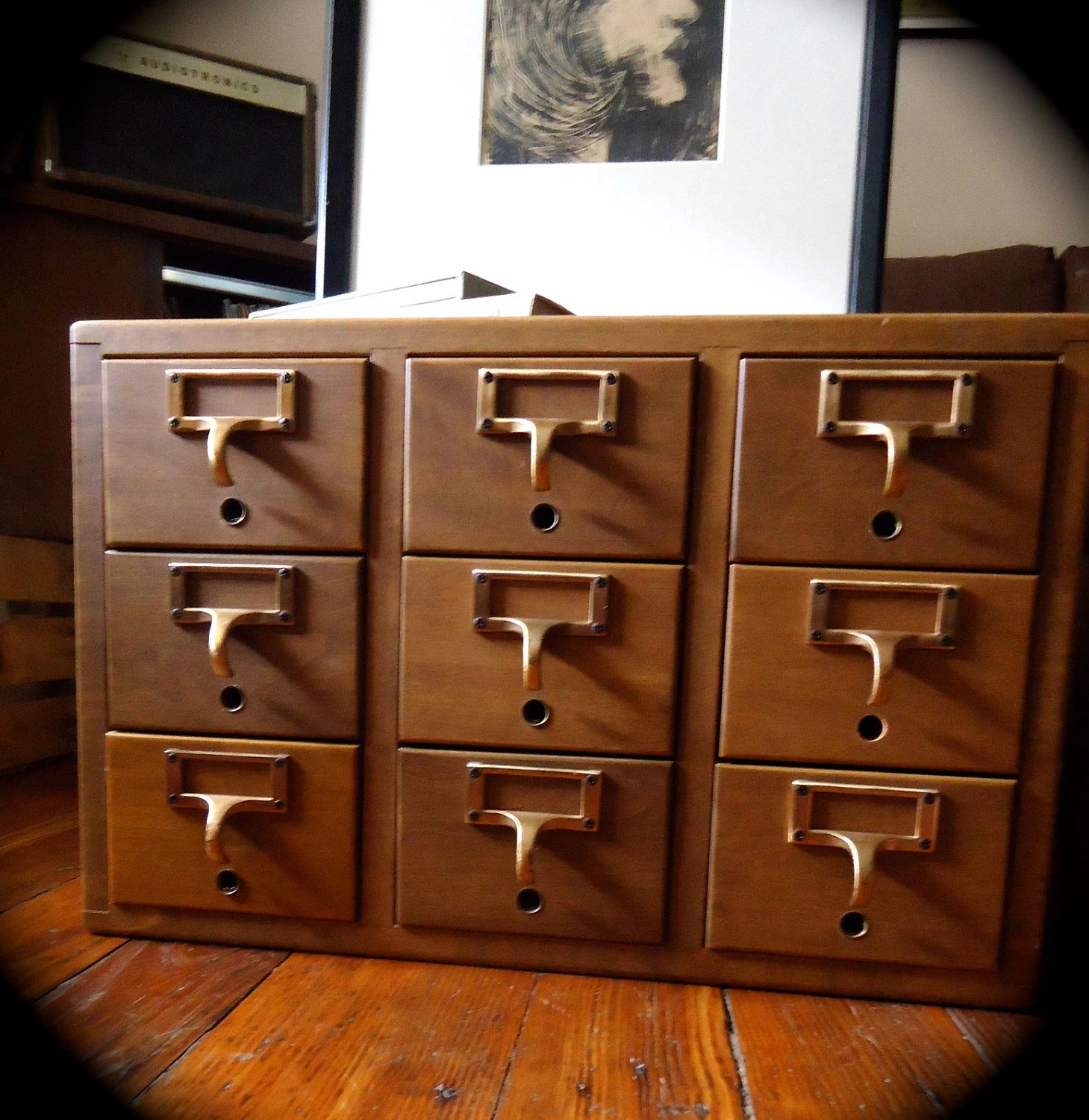 Vintage Library Card Catalog File Cabinet
