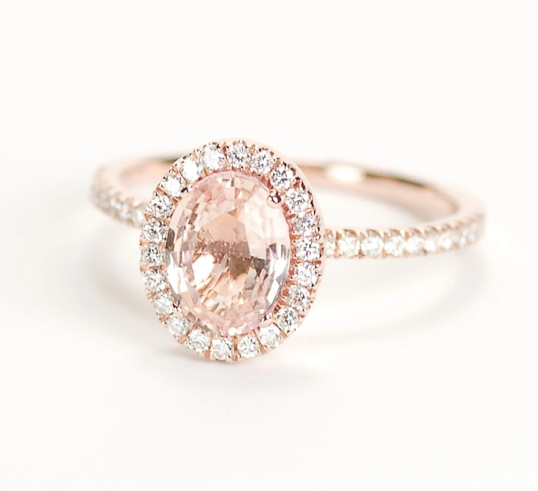 SALE Certified Peach Pink Champagne Sapphire Diamond Halo