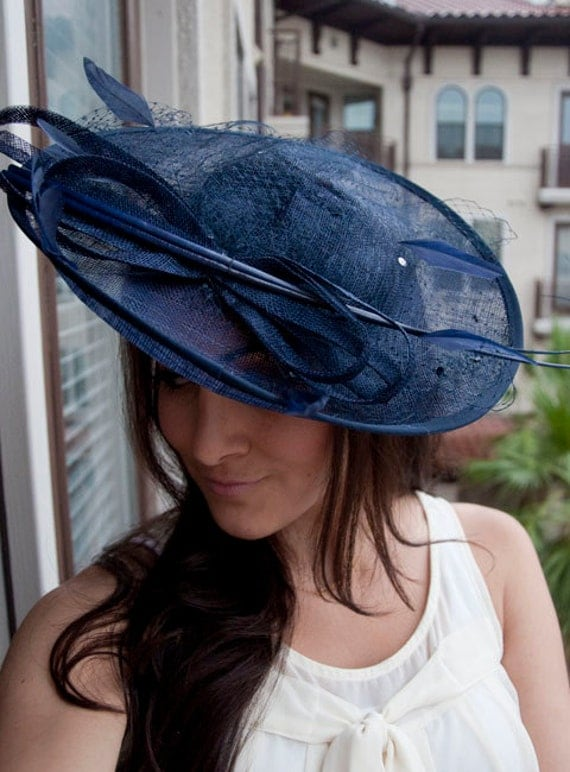 Navy Blue Fascinator Hat Wendy Wide Slightly By EyeHeartMe