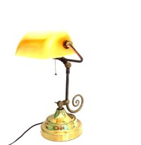 Vintage Brass Lamp Bankers Desk Table Lighting Gold Italian