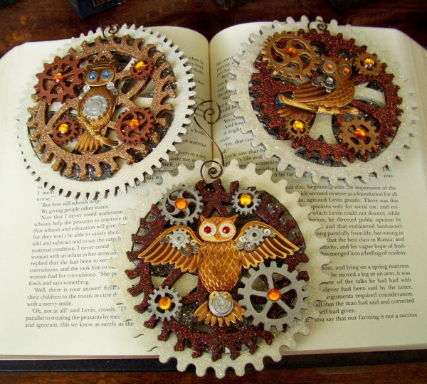 Steampunk Christmas Ornament Xmas2012-5 Owls And Large