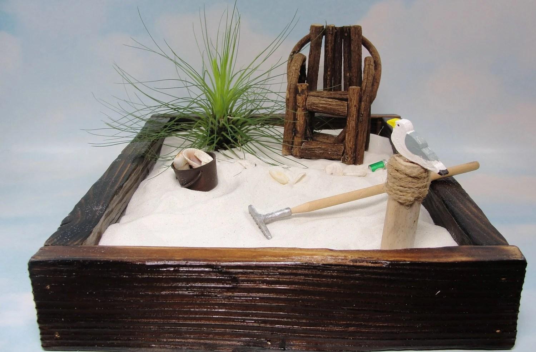 miniature zen beach garden in rustic cedar box air plant