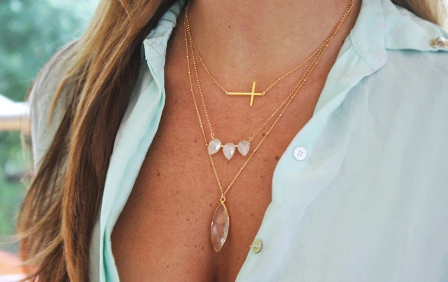pre-order 5/10 - Crystal Marquise Gold Necklace