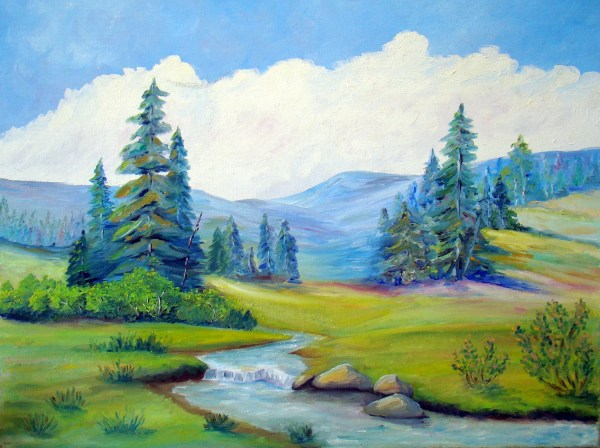 Vintage Landscape Painting Mountains Trees Stream Bright