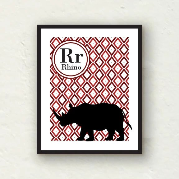 Nursery Decor - R is for Rhino - red nursery - 8x10 Graphic Art Print - PaperFinchDesign