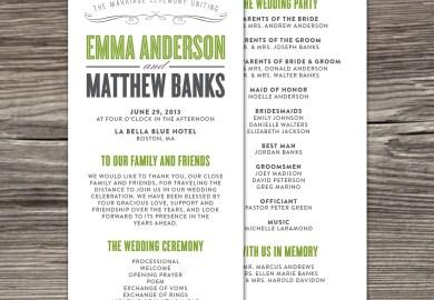 Simple Wedding Program Wording Samples