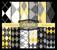 Scrapbook Digital Paper in Yellow Gray Black & White Argyle