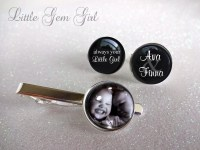 Custom Photo Tie Clip and Name Cuff Links Personalized