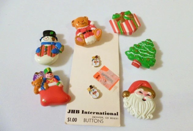 Vintage Christmas Theme Button Cover Collection