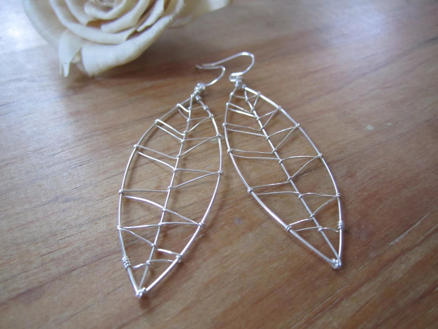 Light Breeze . Sterling Silver Wire Wrapped Leaf Earrings . Free Shipping - MicheleMolesky