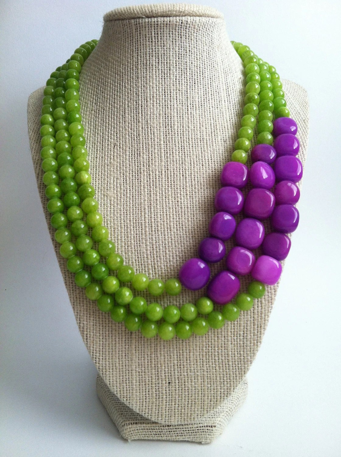 Donatella Necklace Lime Green And Purple Color Blocked