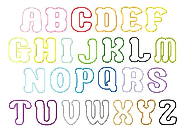 Choco Letters Small 1 75 2 And 3 Inch Letters Applique