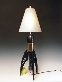 Table Lamp. Atomic retro rocket lamp. Metallic pewter. 50s.