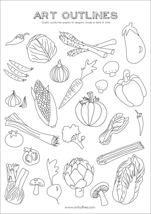 vegetables drawing outlines outline vegetable hand drawn line doodle draw illustration clipart illustrations drawings coloring fruit printable rachel clip pages