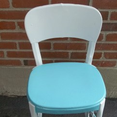 Vintage Cosco Step Stool Chair Wheelchair For Cats All Metal In Turquoise Aqua And