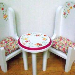 American Girl High Chair Garden Covers B&q Table And Chairs Bistro Dining Set Doll