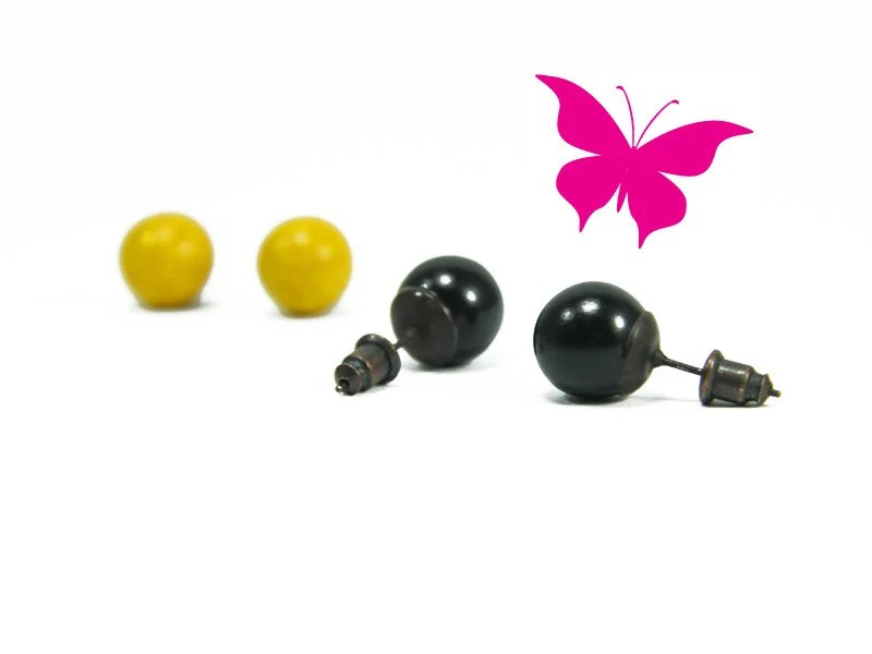 SALE 30% OFF Glitter Yellow, Black Ball Stud Earrings - Small Studs Ball Earrings - 2 Pairs Simple Modern Classic Everyday Jewelry - biesge