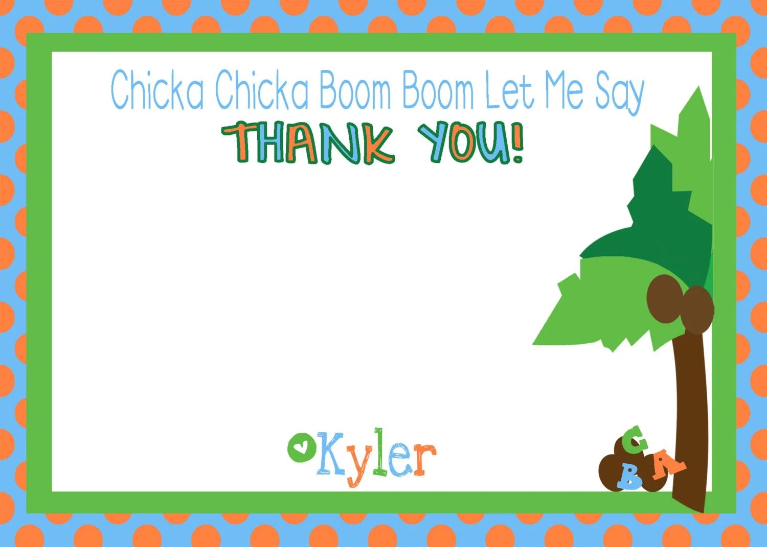 Chicka Chicka Boom Boom Thank You Printable Notecard