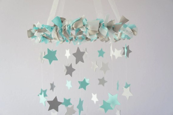 Aqua Gray Nursery Star Mobile- Baby Nursery Decor, Baby Shower Gift - LoveBugLullabies