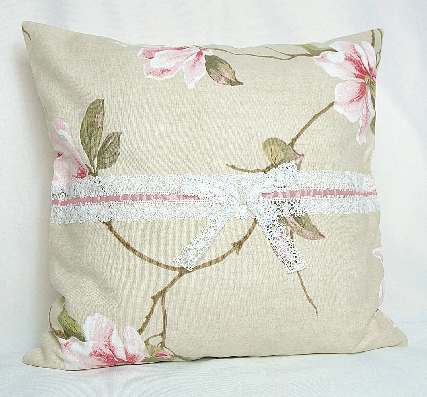 Country Style Cream Pink Green Floral Orchids Print Decorative Pillow Case , Cushion Cover - MyveraLinen