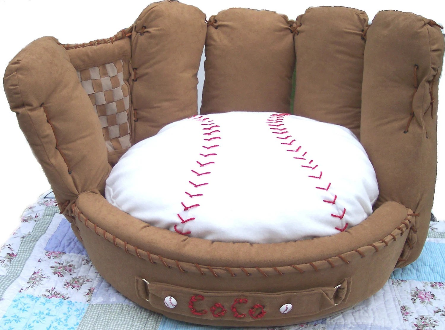 Kids Baseball Chair Personalized Baseball Mitt Pet Bed By Fastigesmadewithlove