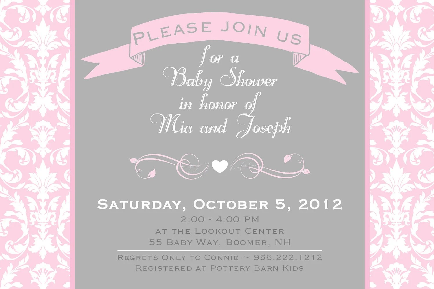 Pink And Grey Baby Shower Invitations