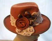 Trilby Fedora Burnt Orange Wool Felt Hat - MixedMediabyBridget