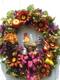 Fall Wreath Thanksgiving Wreath Tuscan Wreath Rooster