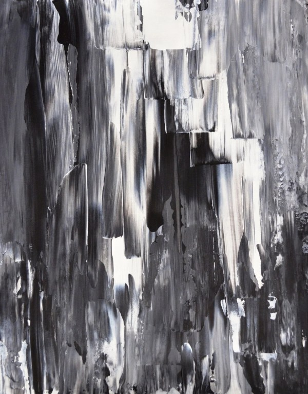 Acrylic Abstract Art Painting Black White Grey Modern