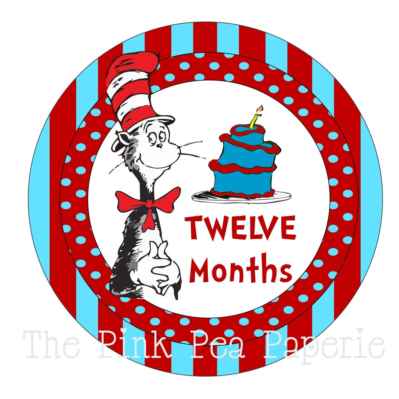 Instant Download Monthly Cat In The Hat Tummy Tags Diy
