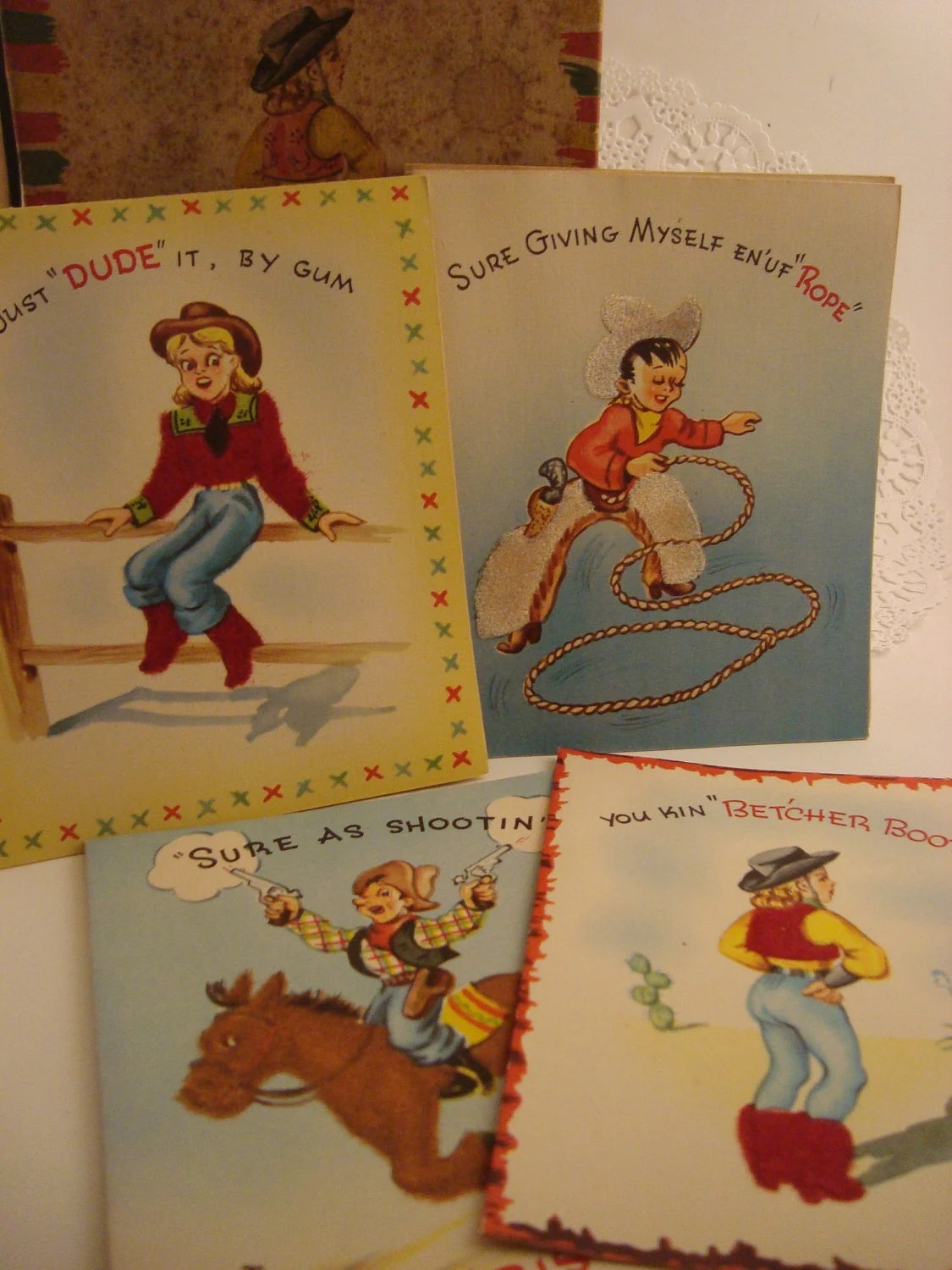 Cowboy Country Western Christmas Cards Vintage Holiday Cards