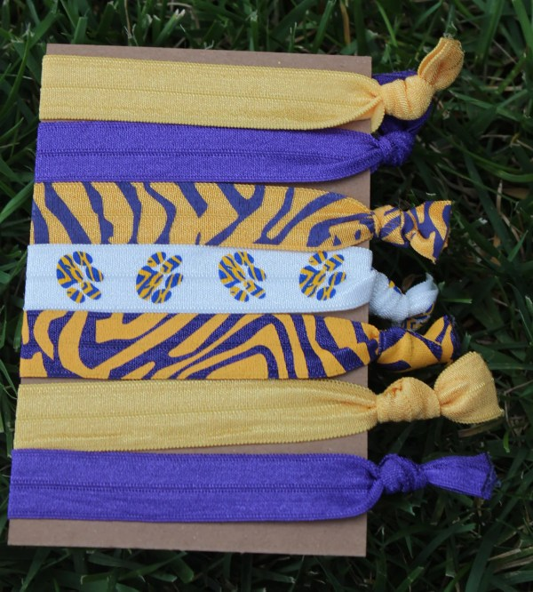 7 Pack LSU Tigers PAW PRINT Purple Gold by LoveMeKnotHairTies