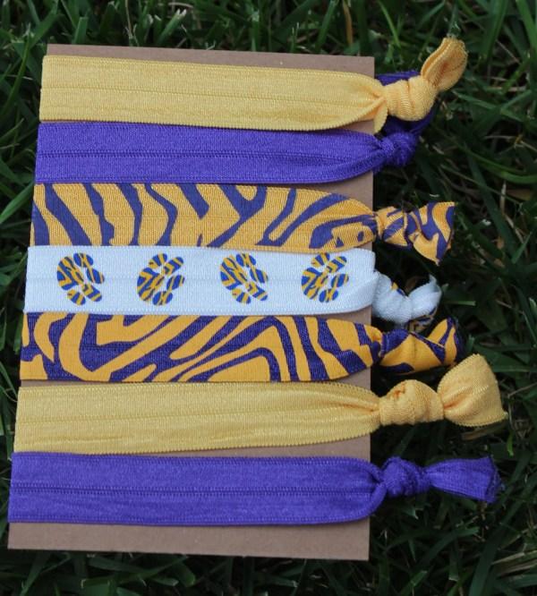 7 Pack LSU Tigers PAW PRINT Purple Gold by LoveMeKnotHairTies