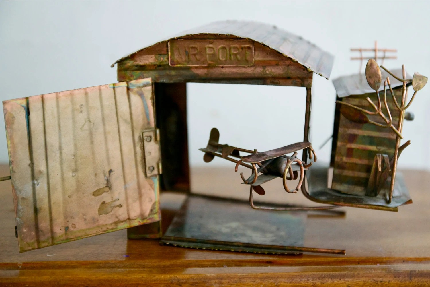 Vintage Copper Airplane Music Box