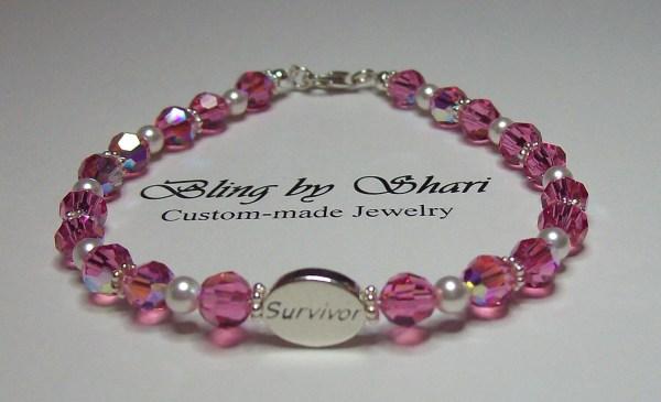 Breast Cancer Survivor Bracelet With Swarovski Crystals