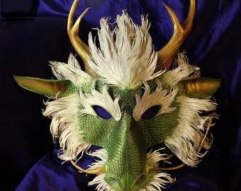 Ryu Asian Dragon Handmade Leather Mask