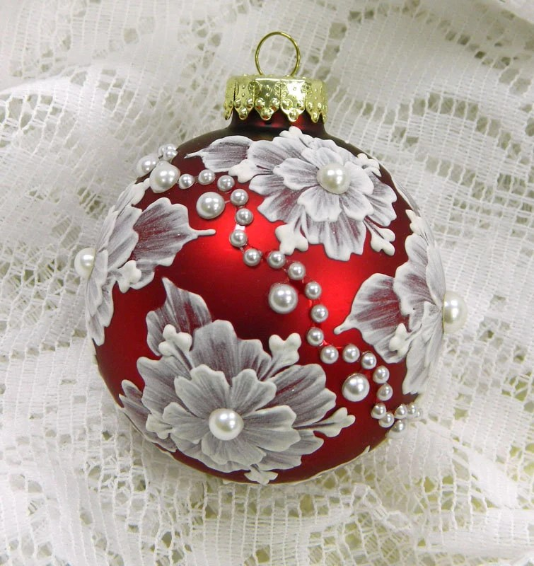Red Hand Painted Floral MUD Ornament With Pearls