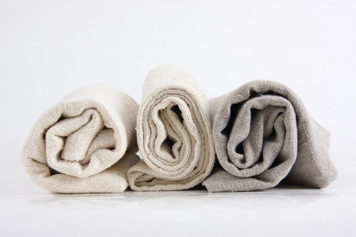 "set of 5 towels (20x30""), handmade from natural linen, hemp or wild-silk - malacosmetics"