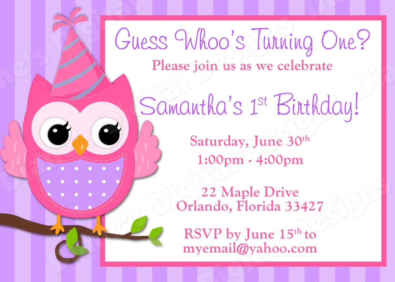Children39s Owl Birthday Invitation Girl Design 3