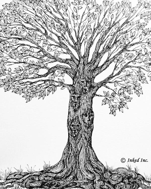 Printable Tree Pen And Ink Original Drawing Digital