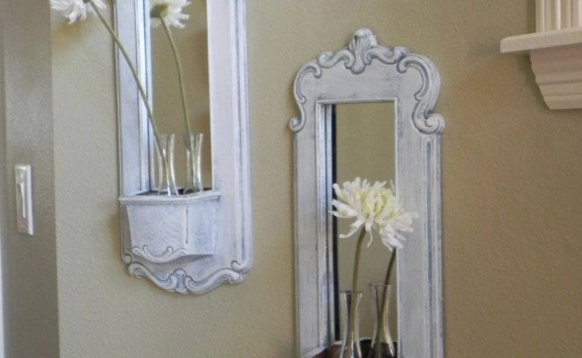 Pair White Washed Slate Blue Vintage Mirror By