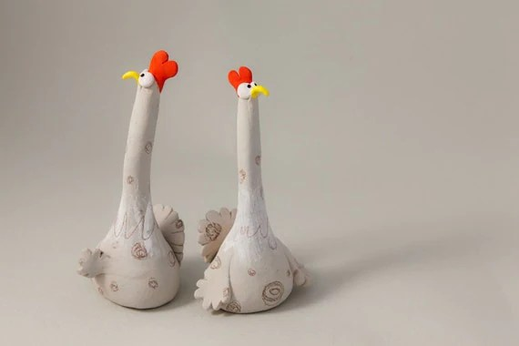 "Stoneware Sculpture ""Two Suspicious Chickens"", Handmade Ceramic Animal Figure"