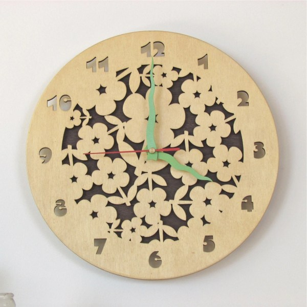 Wooden Wall Clock Laser Cut Flowers Ø 30cm by TheWoodenTractor