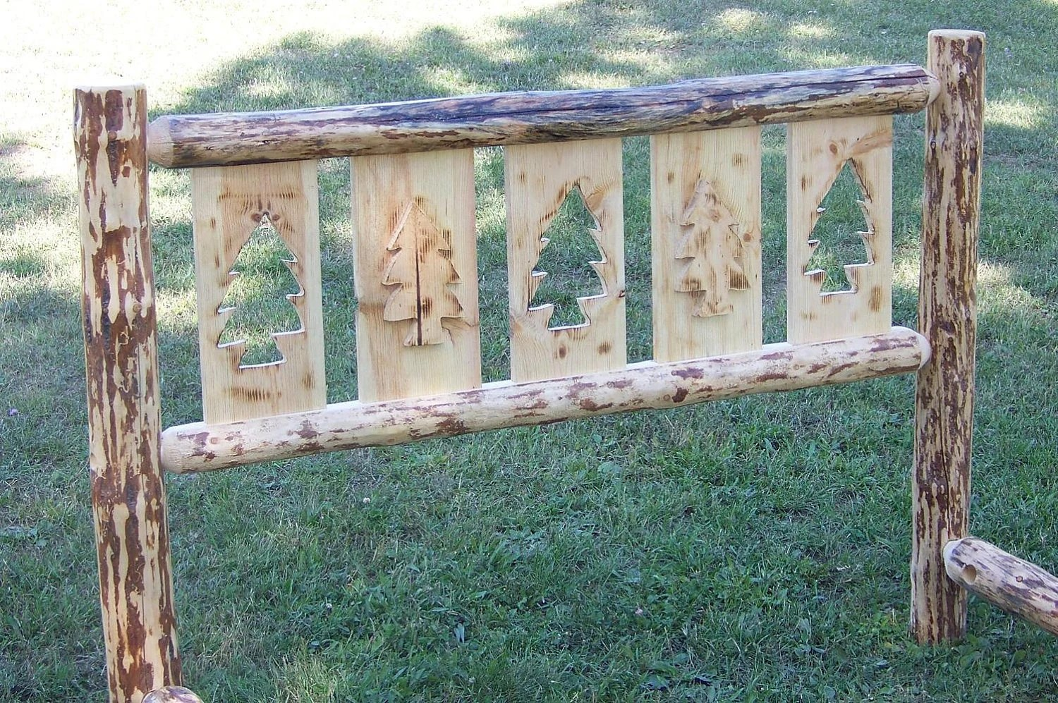 QUEEN Size Rustic CUTOUT Style Pine Log Bed By